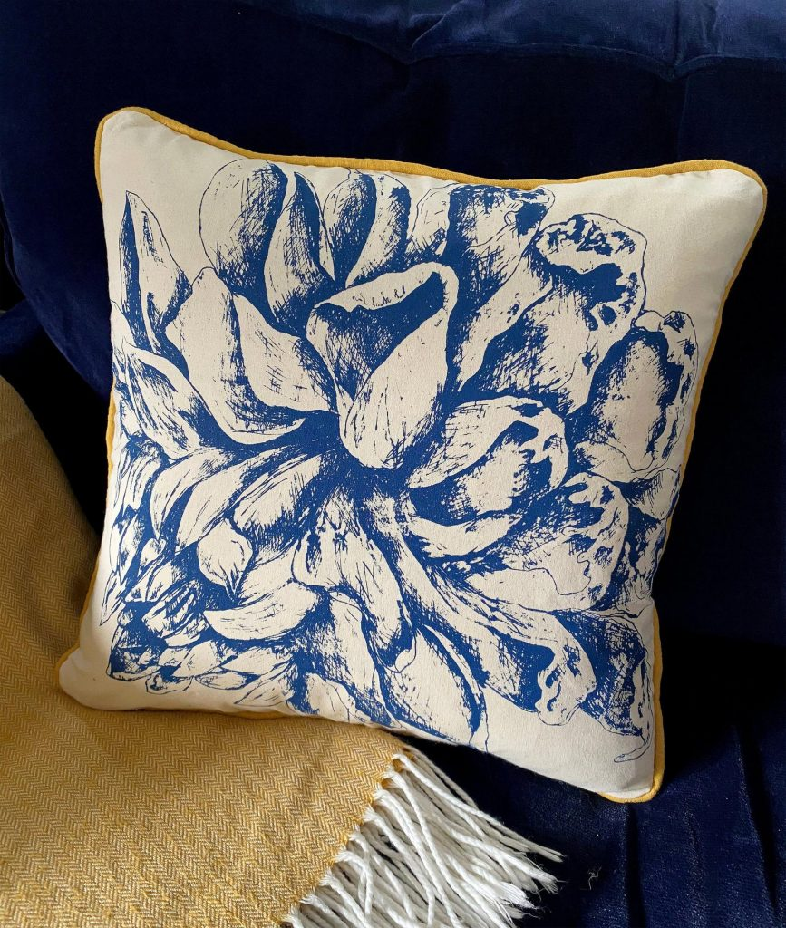 Lovely piped cushion by Rachel Edmunds, textile artist